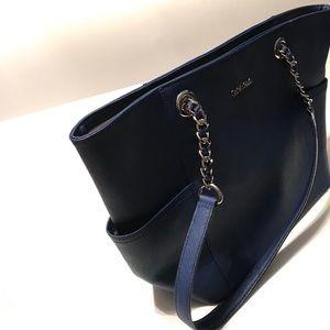 Calvin Klein Bags - Calvin Klein Mercury Larger Blue Leather Tote.